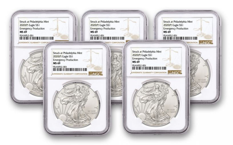 2020(P) $1 1-oz Silver Eagle Struck At Philadelphia Emergency Production 5-Pack NGC MS69 w/Brown Label