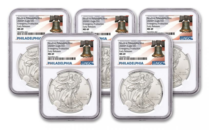 2020(P) $1 1-oz Silver Eagle Struck At Philadelphia Emergency Production 5-Pack NGC MS69 Early Releases w/Liberty Bell Label