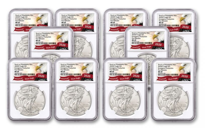 2020(P) $1 1-oz Silver Eagle Struck At Philadelphia Emergency Production 10-Pack NGC MS69 First Releases w/Eagle Label