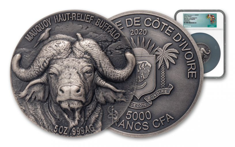 2020 Ivory Coast 5000 Francs 5-oz Silver Water Buffalo Ultra High Relief Antiqued NGC MS70 First Releases