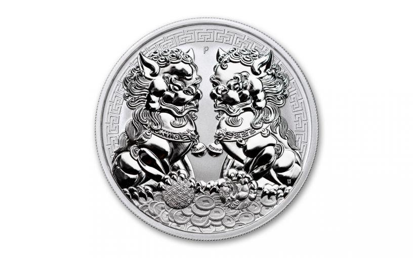 2020 Australia $1 1-oz Silver Double Pixiu Forbidden City Imperial Lion BU