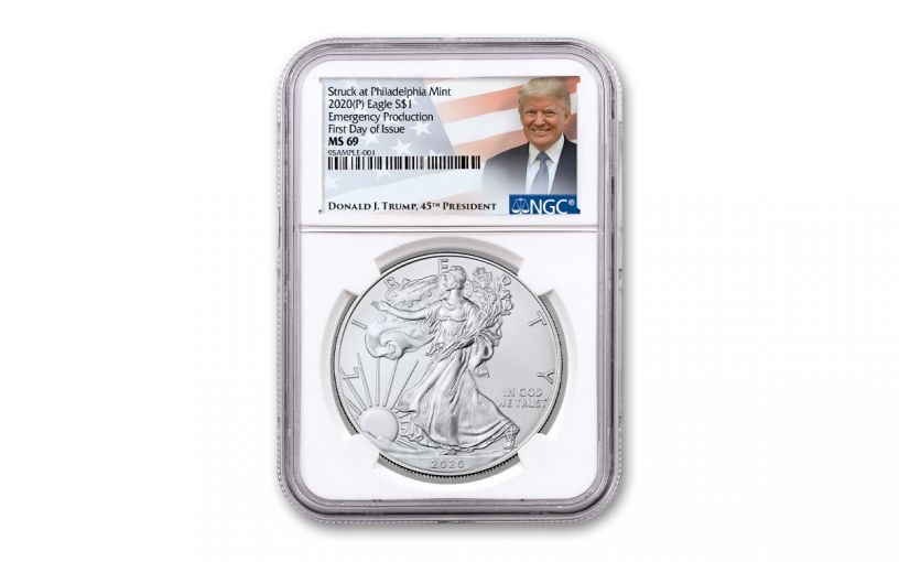 2020(P) $1 SILVER EAGLE PHILLY NGC MS69 FDI TRUMP