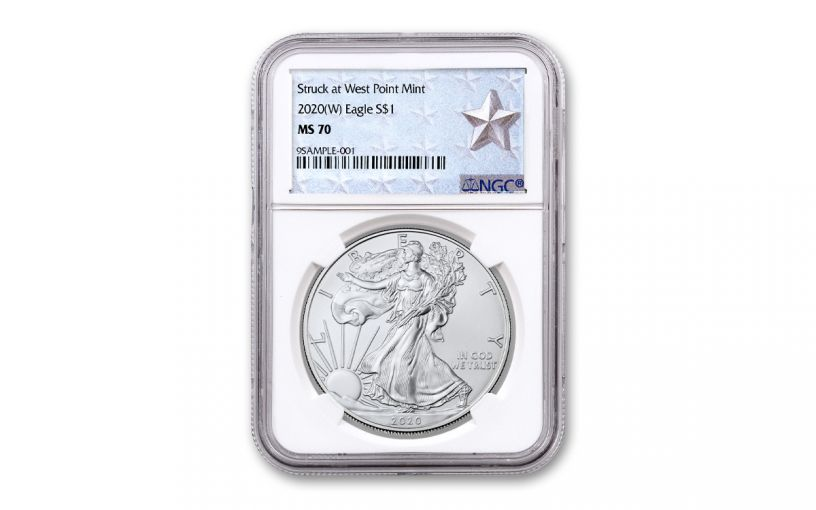2020-(W) $1 1-oz Silver American Eagle Struck at West Point NGC MS70 w/Silver Star Label