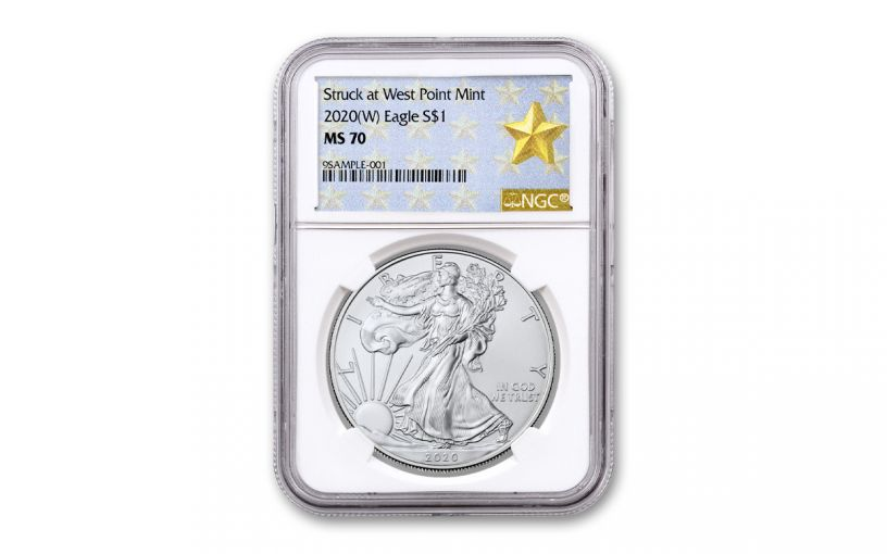 2020-(W) $1 1-oz Silver American Eagle Struck at West Point NGC MS70 GSTAR