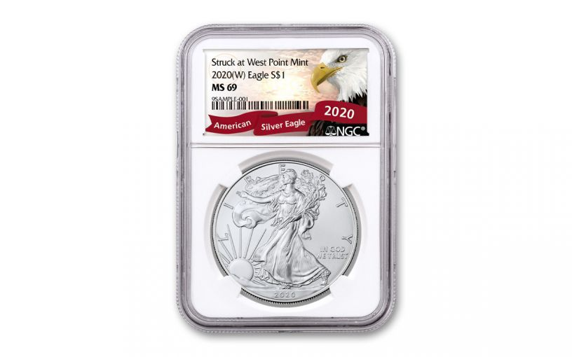 2020-(W) $1 1-oz Silver American Eagle Struck at West Point NGC MS69 w/Exclusive Eagle Label