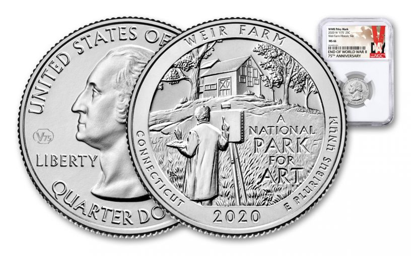 2020-W 25¢ America the Beautiful Weir National Historic Site Quarter NGC MS66 w/V75 Privy Mark & Victory Label