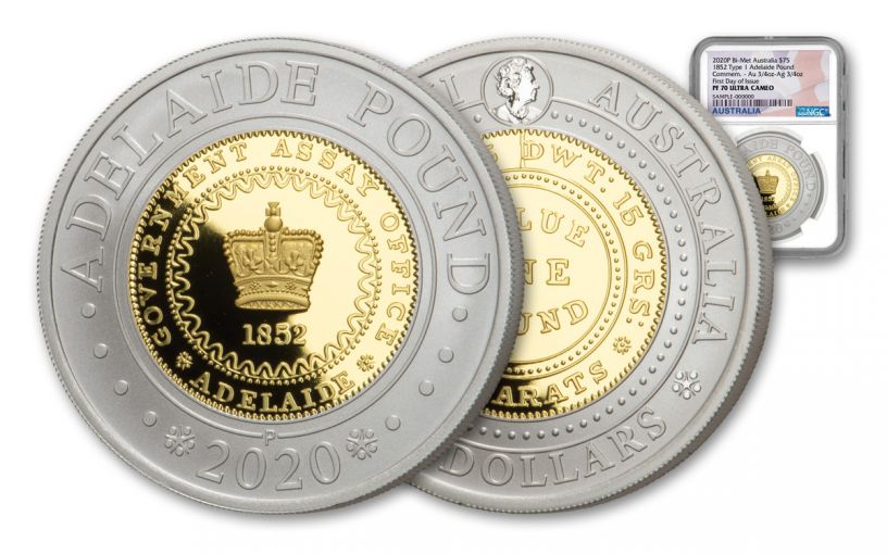 2020 Australia $75 1.5-oz Silver & Gold Bimetal Adelaide Pound NGC PF70UC First Day of Issue