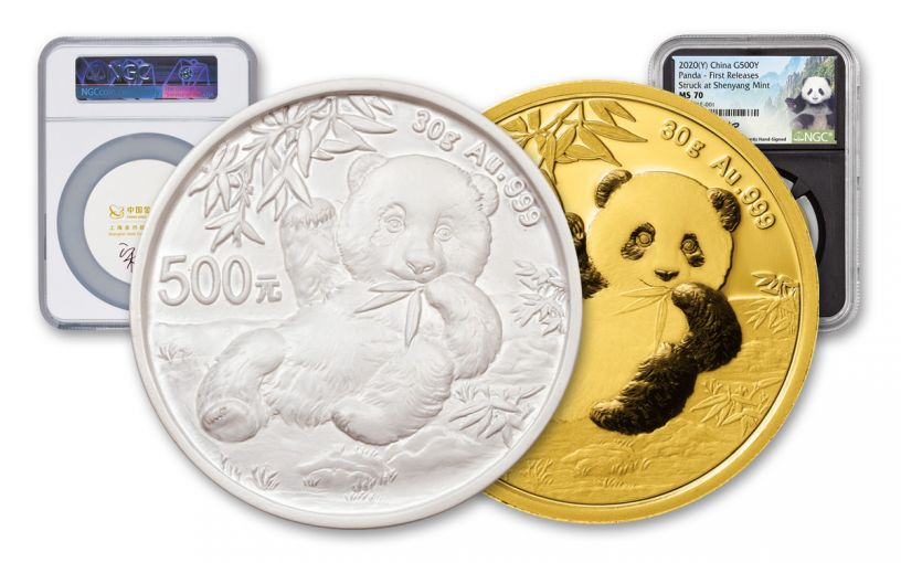 2020 China 30-gm Gold & Cast Panda NGC MS70 First Releases w/Lina Signature