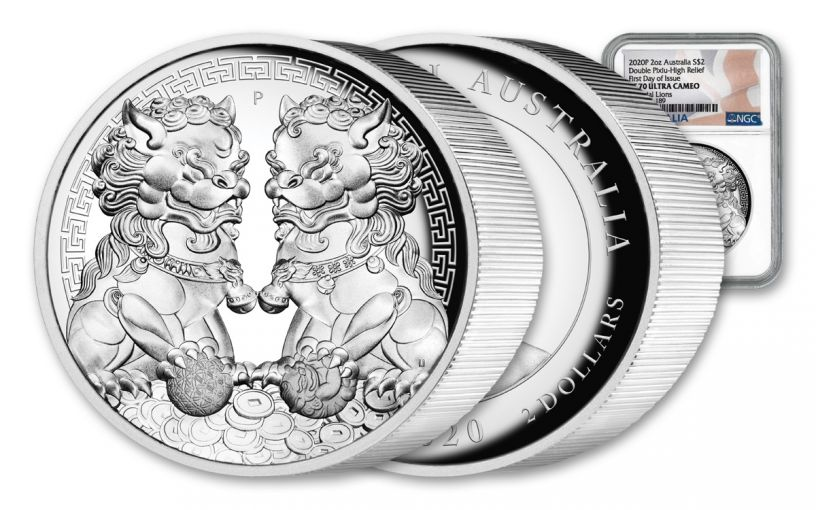 2020 Australia $2 2-oz Silver Forbidden City Imperial Lion Double Pixiu High Relief NGC PF70UC First Day of Issue