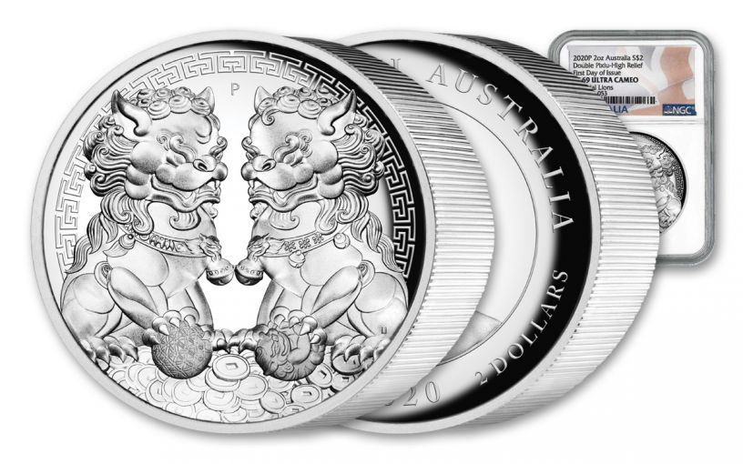 2020 Australia $2 2-oz Silver Forbidden City Imperial Lion Double Pixiu High Relief NGC PF69UC First Day of Issue