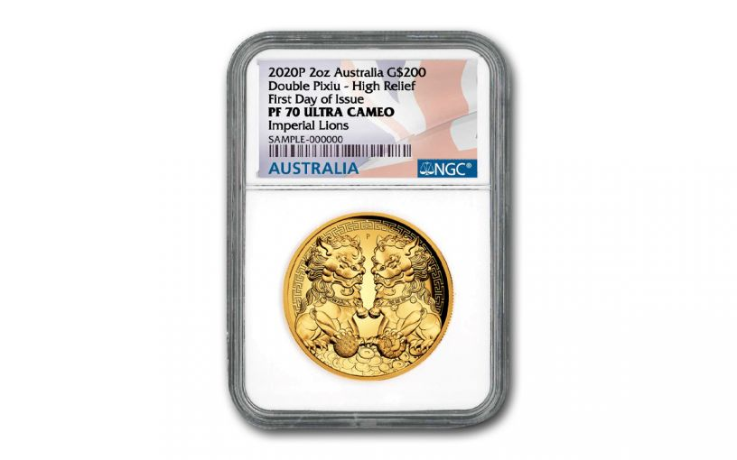 2020 Australia $200 2-oz Gold Forbidden City Imperial Lion Double Pixiu High Relief NGC PF70UC First Day of Issue