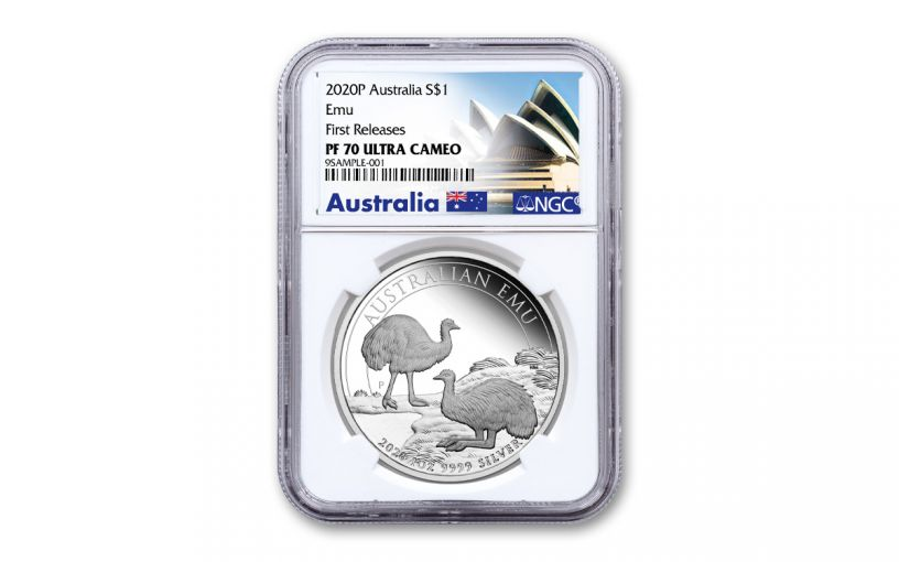 2020 Australia $1 1-oz Silver Emu Proof NGC PF70UC First Releases w/Opera House Label