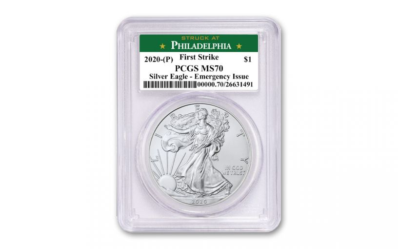 2020(P) $1 1-oz Silver Eagle Struck At Philadelphia Emergency Production PCGS MS70 First Strike