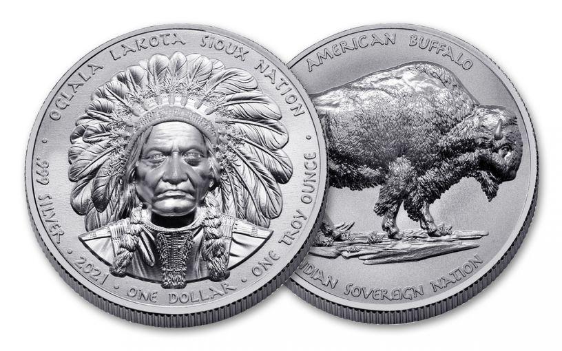 2021 Oglala Lakota Sioux Nation $1 1-oz Silver Sitting Bull & Buffalo Ultra High Relief Uncirculated