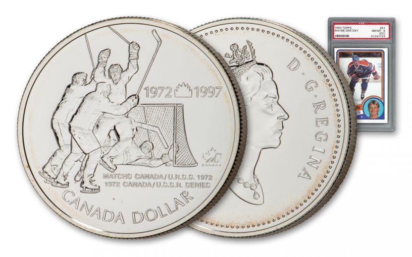 1997 $1 Silver Canada vs Russia 25th Anniversary Hockey Summit Series Coin BU w/1984 Gretzky Card PSA 8