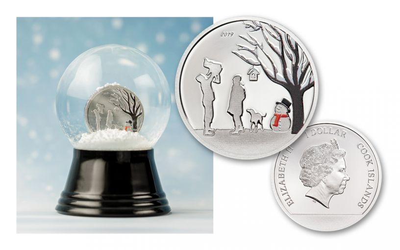 2019 Cook Islands $1 1/10th-oz Silver Winter Wonderland Snow Globe