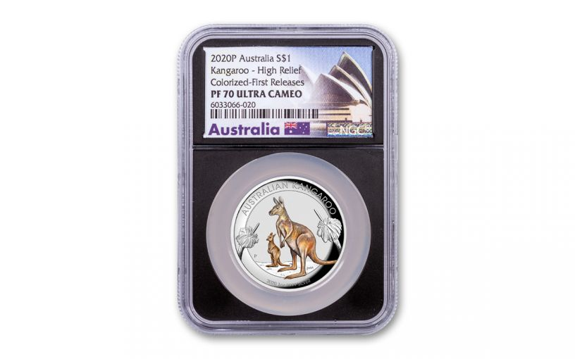 2020 Australia $1 1-oz Silver Kangaroo Colorized High Relief Proof NGC PF70UC First Releases w/Black Core & Opera House Label