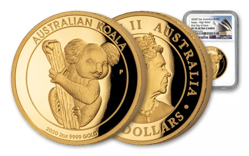 2020 Australia $200 2-oz Gold Koala High Relief Proof NGC PF70UC First Day of Issue