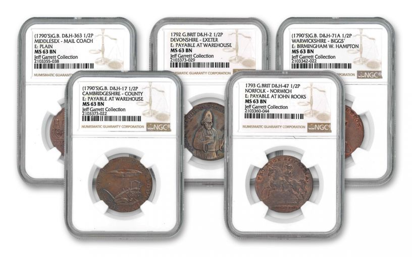 1787–1799 Half Pence Conder Token 5-pc Set NGC Jeff Garrett Collection