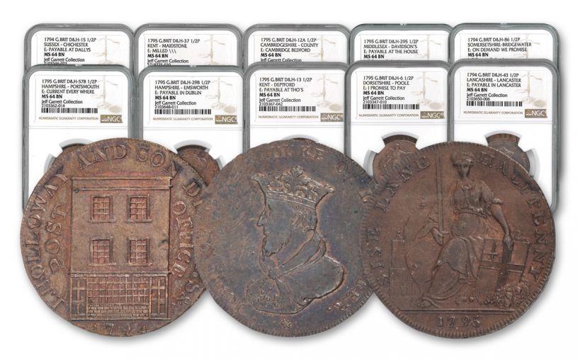 1787–1799 Half Pence Conder Token 10-pc Set NGC Jeff Garrett Collection
