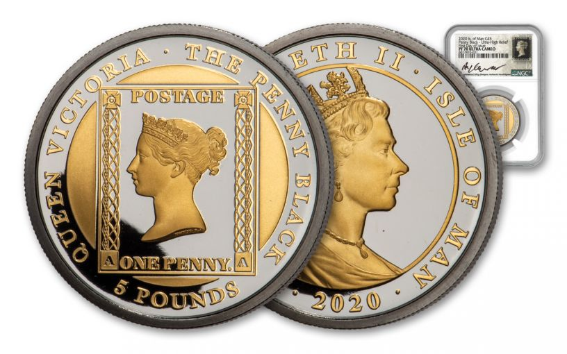 2020 Isle of Man £5 1-oz Gold Penny Black Ultra High Relief Proof NGC PF70UC First Day of Issue w/Maklouf Signature & Custom Label