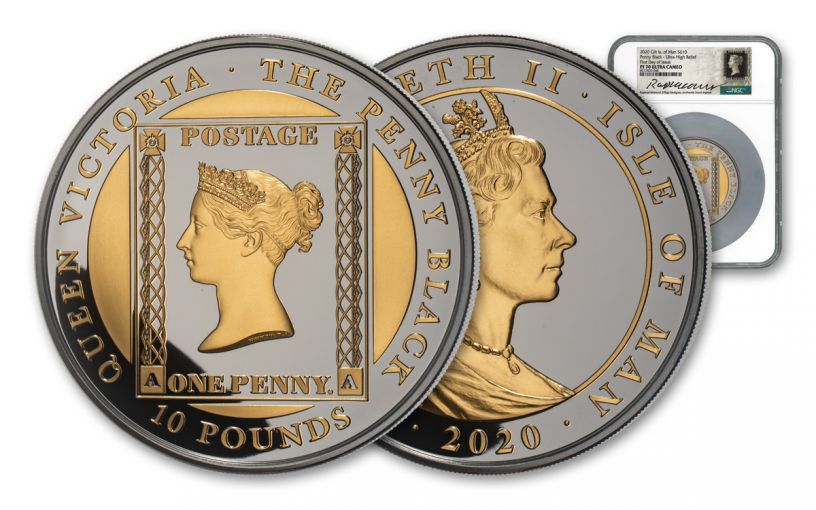 2020 Isle of Man £10 5-oz Silver Penny Black Ultra High Relief Proof w/Gold Gilding NGC PF70UC First Day of Issue w/Maklouf Signature & Custom Label