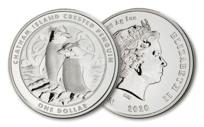 2020 New Zealand $1 1-oz Silver Chatham Island Crested Penguin BU