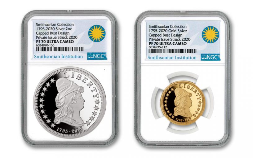 1795–2020 Gold & Silver $5 Capped Bust 2-pc Set NGC PF70UC