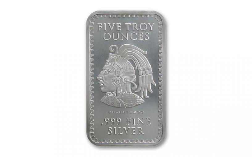 Golden State Mint 5-oz Silver Aztec Calendar Bar BU