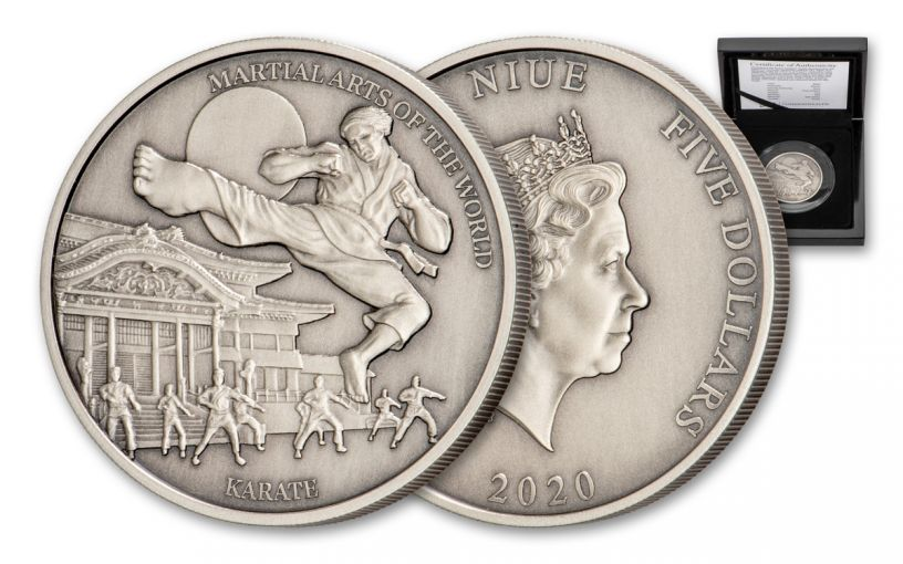 2020 Niue $5 2-oz Silver Martial Arts of the World: Karate Antiqued