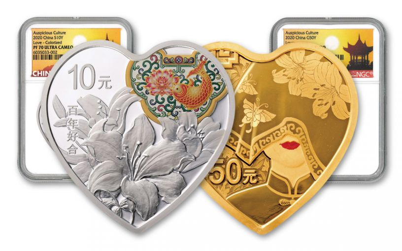 2020 China Gold/Silver Auspicious Love 2-pc Proof Set NGC PF70UC