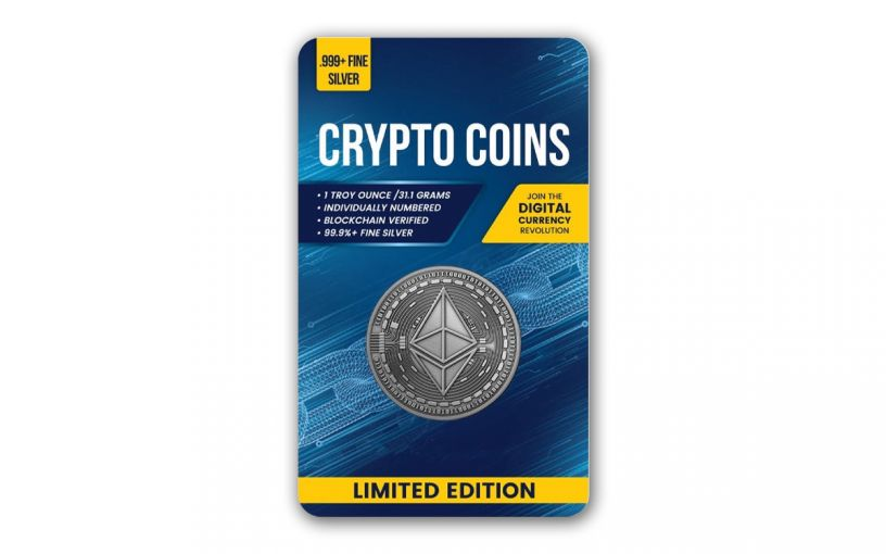 Republic of Chad 2020 5,000 Francs CFA 1-oz Silver Ethereum Crypto Currency Coin Antiqued in Digital Certicard