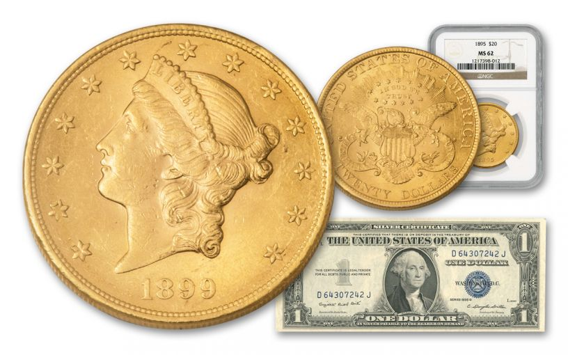 1850-1907 $20 Gold Liberty NGC/PCGS MS62 w/1935 Silver Certificate
