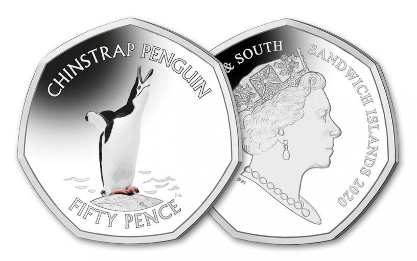2020 South Georgia & the South Sandwich Islands 50 Pence 8-gm CuNi Chinstrap Penguin Colorized BU