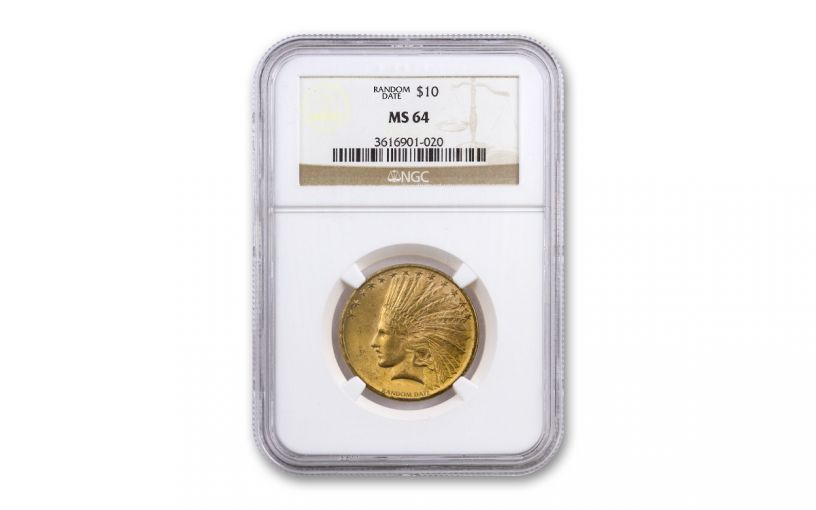 1908-1932 $10 Gold Indian NGC/PCGS MS64