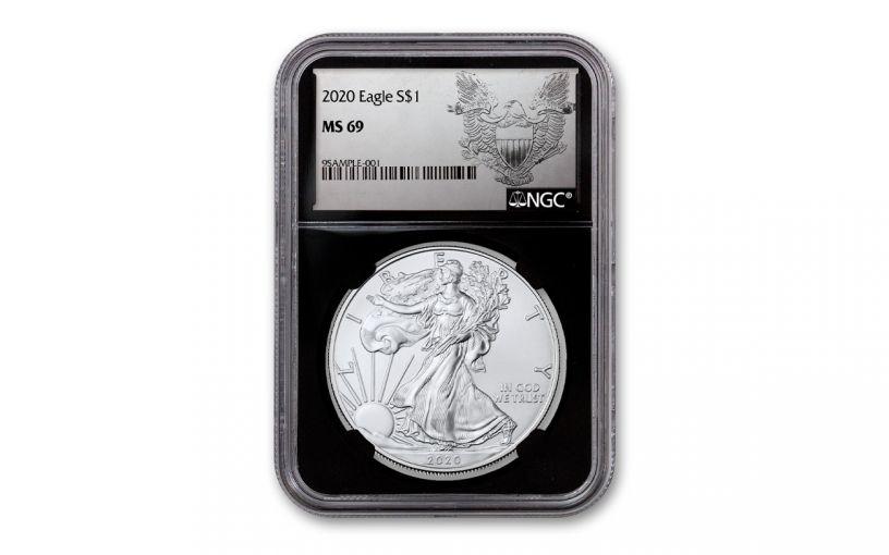 2020 $1 1-oz Silver Eagle NGC MS69 w/Heraldic Eagle Label