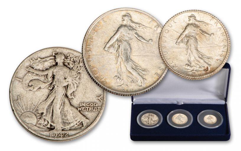 1898–1947 France/USA Francs & Walking Liberty 3-pc Set F–VF