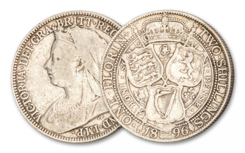 1893–1901 Great Britain 1 Florin/2 Shillings Silver Queen Victoria F–VF