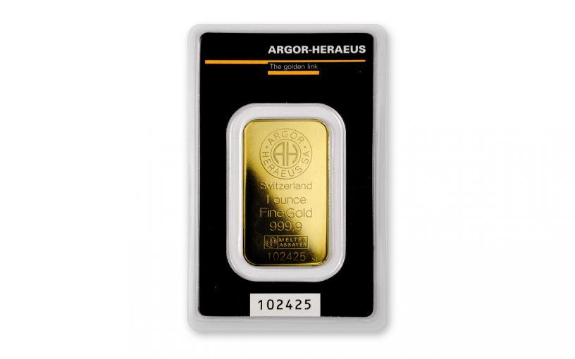 Argor-Heraeus Logo 1-oz Gold Kinebar In Assay