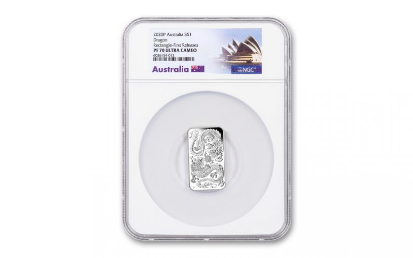 2020 Australia $1 1-oz Silver Dragon Bar Proof NGC PF70UC First Releases