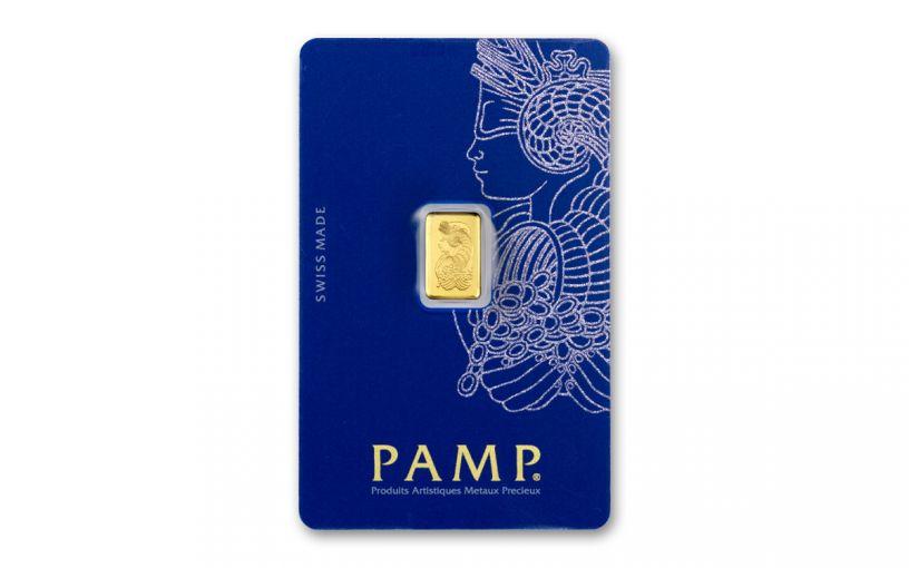 PAMP Fortuna 1-gm Gold Bar in Assay Veriscan