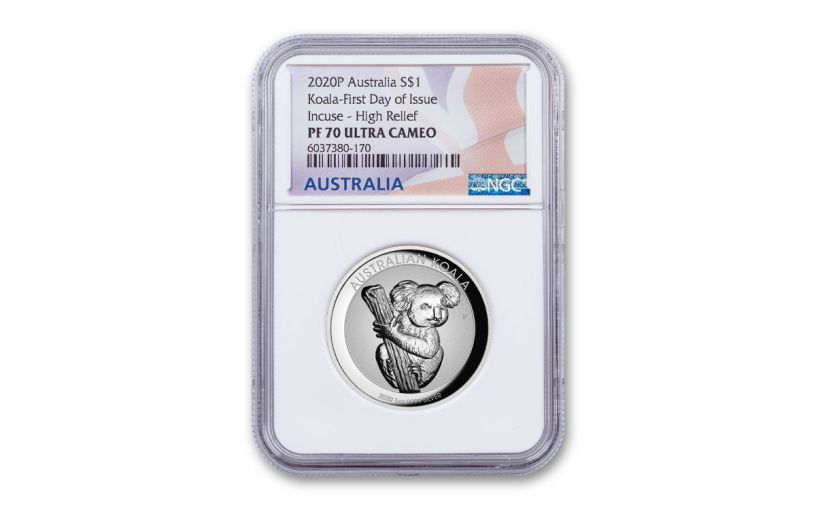 2020 Australia $1 1-oz Silver Koala Incuse High Relief Proof NGC PF70UC First Day of Issue