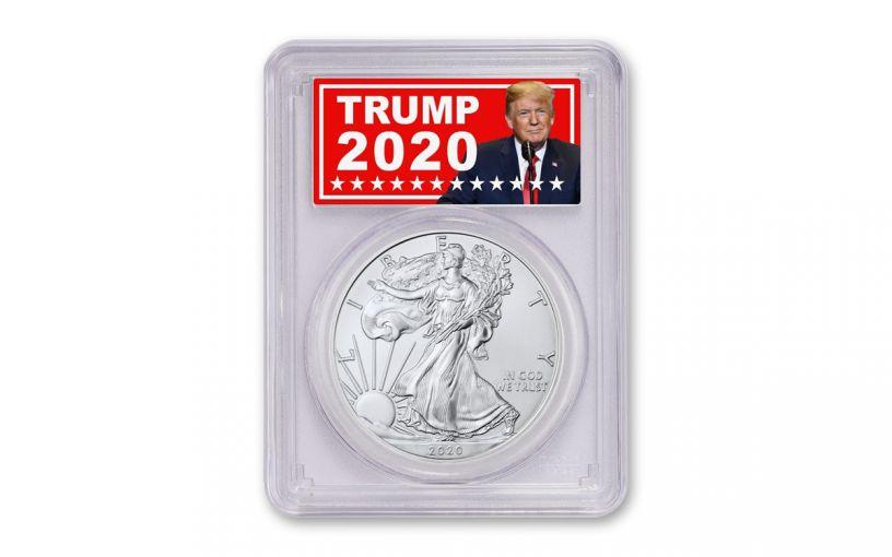2020 $1 1-oz Silver Eagle PCGS MS70 w/Trump 2020 Label