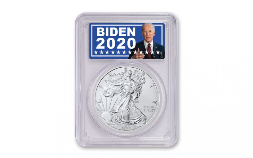 2020 $1 1-oz Silver Eagle PCGS MS70 w/Biden 2020 Label