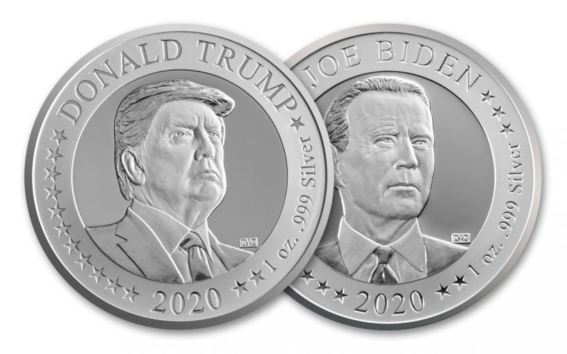 """2020 1-oz Silver U.S. Presidential Election """"Flip Coin"""""""