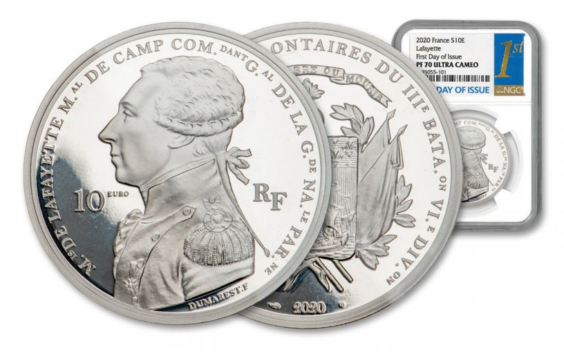 2020 France €10 22.2-gm Silver Lafayette Proof NGC PF70UC First Day of Issue