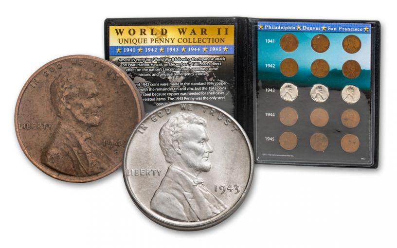 1941–1945-PDS Lincoln Cent 15-Coin Set w/Album