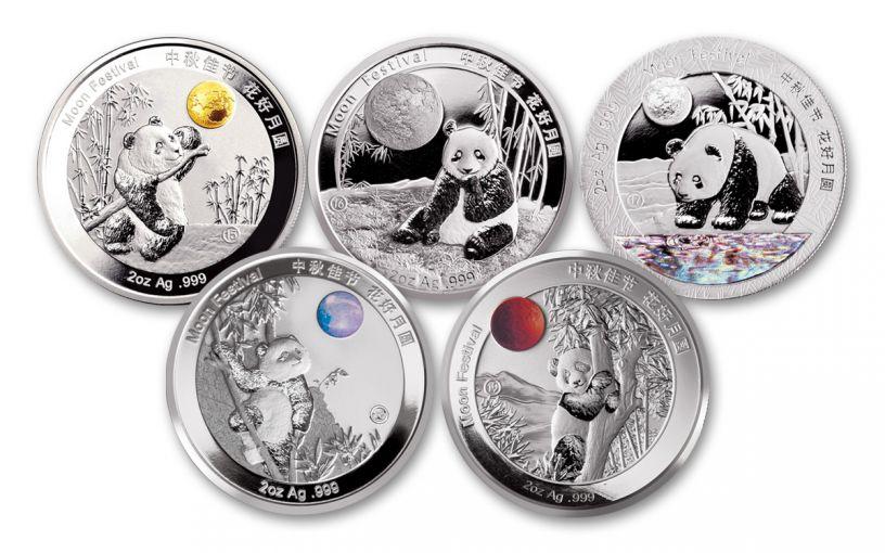 2020 China 2-oz Silver Moon Festival Panda 5-pc Legacy Proof Set