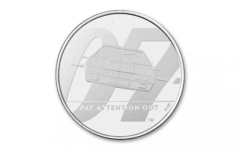 """2020 Great Britain £5 28.28-gm CuNi James Bond """"Pay Attention"""" BU"""