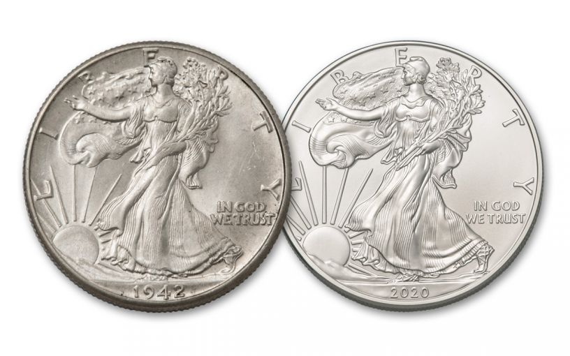 1945–2020 Walking Liberty Design 2-pc Set BU